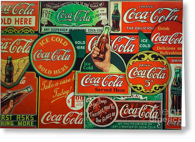 Old Coca-cola Sign Collage Greeting Card by Mitch Shindelbower