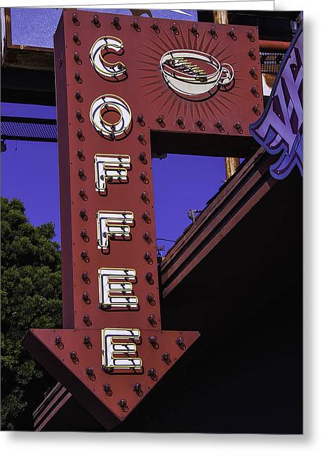 Old Coffee Sign Greeting Card by Garry Gay