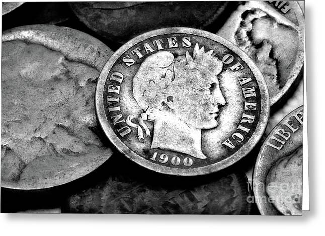 Silver Coins Greeting Cards - Old Coins in Black and White  Greeting Card by Randy Steele
