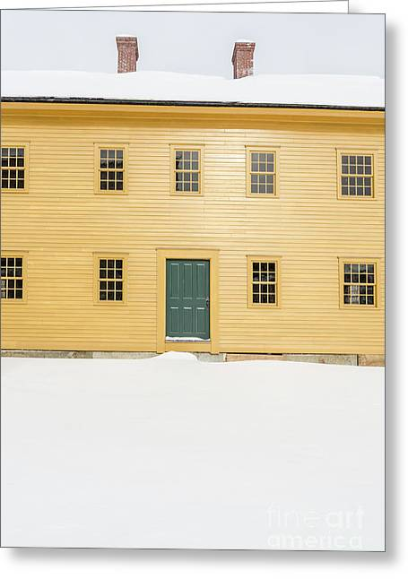 Old Colonial Era Period House In Winter Greeting Card