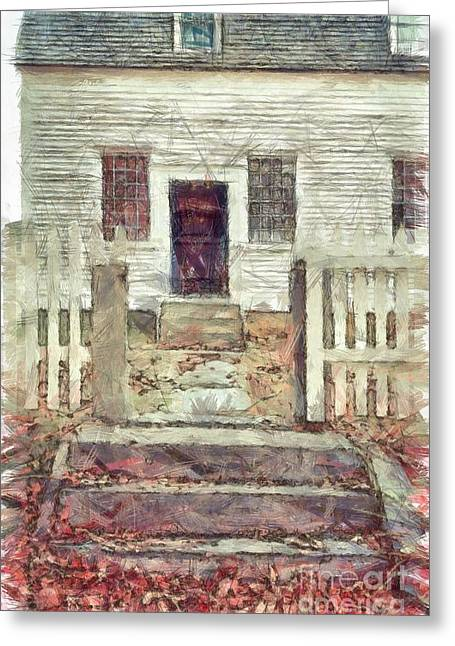 Old Colonial Home Shaker Village Pencil Greeting Card by Edward Fielding