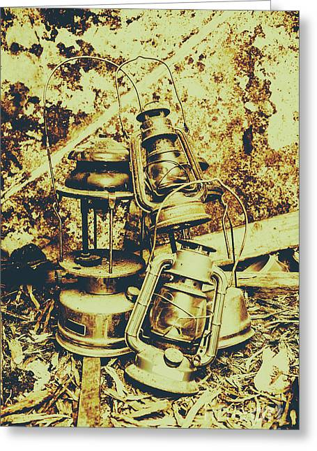 Old Colonial Oil Lanterns In Pile Greeting Card