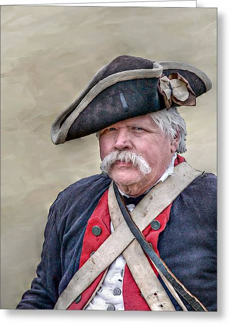 Old Colonial Soldier Portrait Greeting Card by Randy Steele
