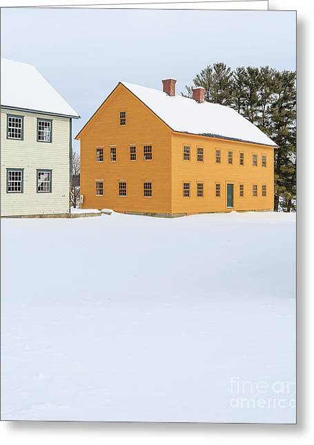 Old Colonial Wood Framed Houses In Winter Greeting Card