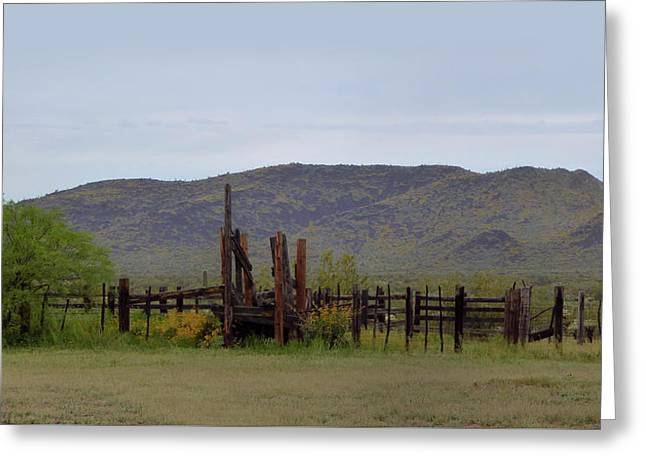Old Corral Greeting Card by Gordon Beck