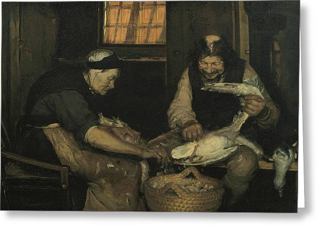 Old Couple Plucking Gulls. Lars Gaihede And Old Lene Greeting Card by Anna Ancher