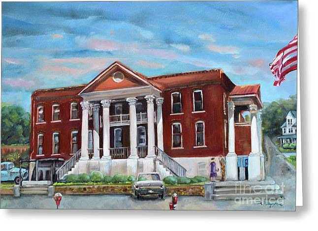 Greeting Card featuring the painting Old Courthouse In Ellijay Ga - Gilmer County Courthouse by Jan Dappen