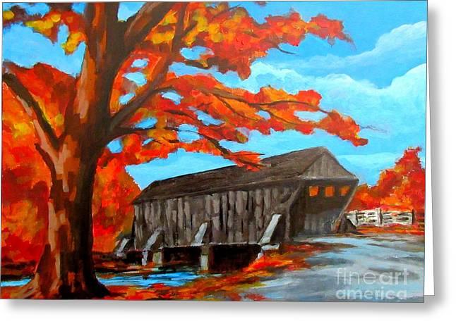 Old Covered Bridge In The Fall Greeting Card by John Malone