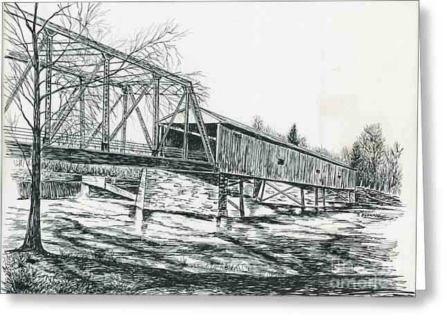 Old Covered Bridge Greeting Card by Samuel Showman