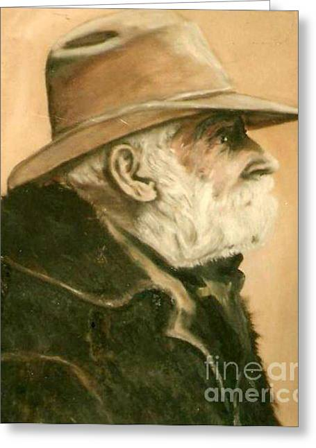 Old Cowboy Greeting Card by Vonicia Verton