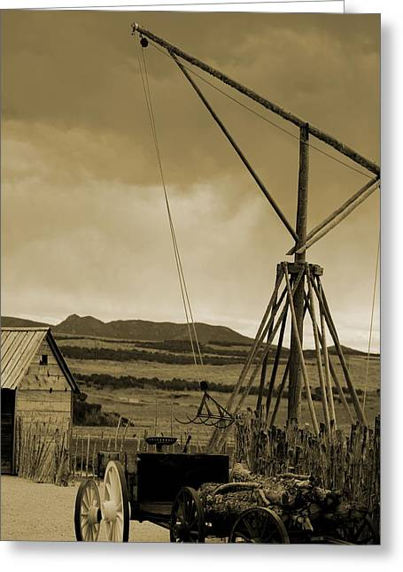 Old Crane And Shed Utah Countryside In Sepia Greeting Card