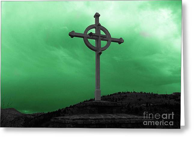 Old Cross - Green Sky Greeting Card