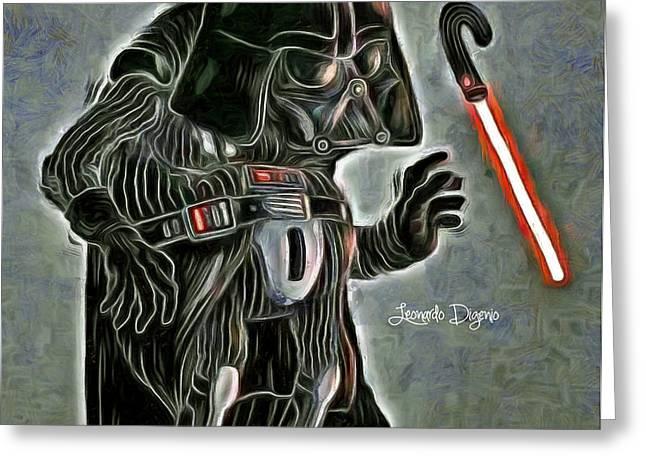 Old Darth Vader Greeting Card by Leonardo Digenio