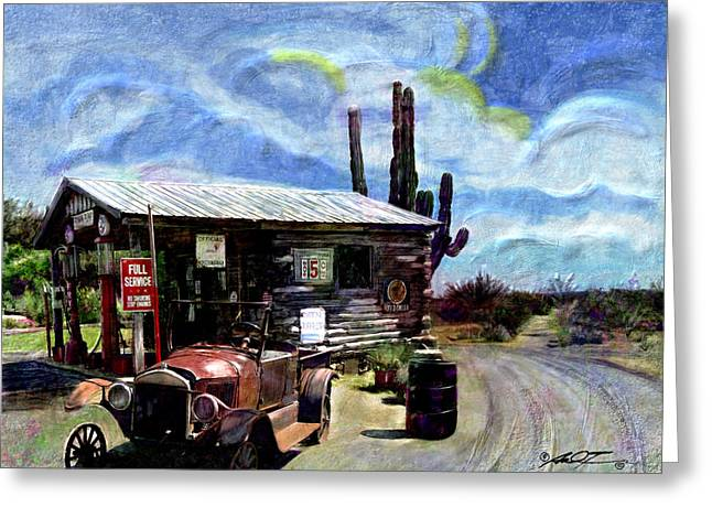Old Desert Gas Station Greeting Card