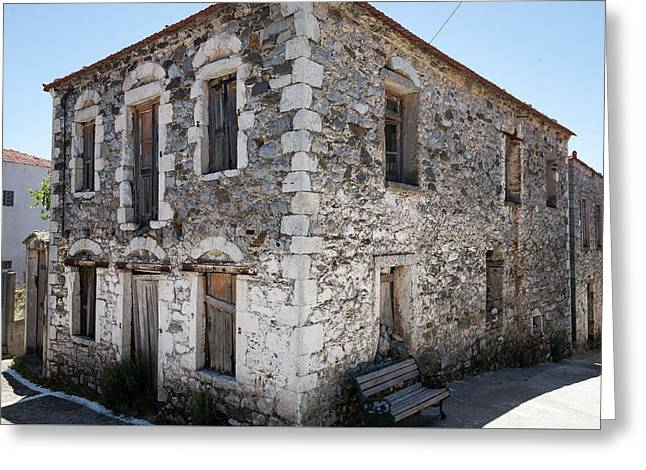 Old Deserted Village House In Greece Greeting Card by Al Poullis