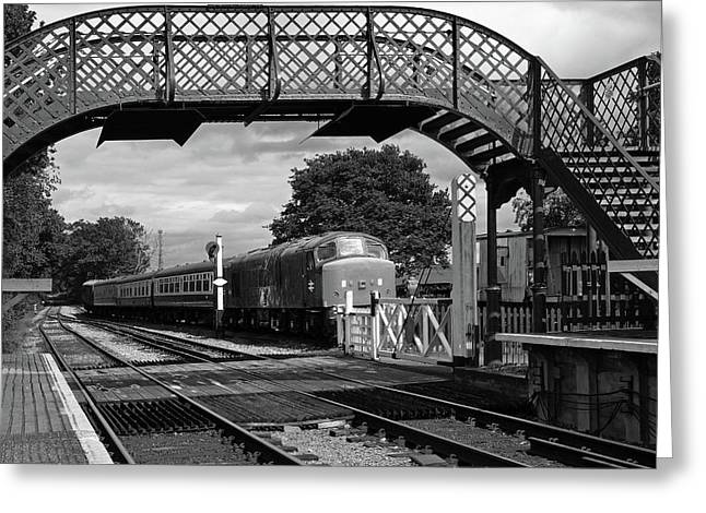 Old Diesel Train In The Sidings In Mono Greeting Card by Gill Billington