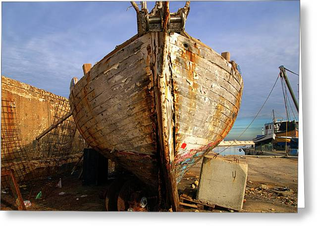 Yafo Greeting Cards - Old dilapidated wooden boat  Greeting Card by Ofer Zilberstein