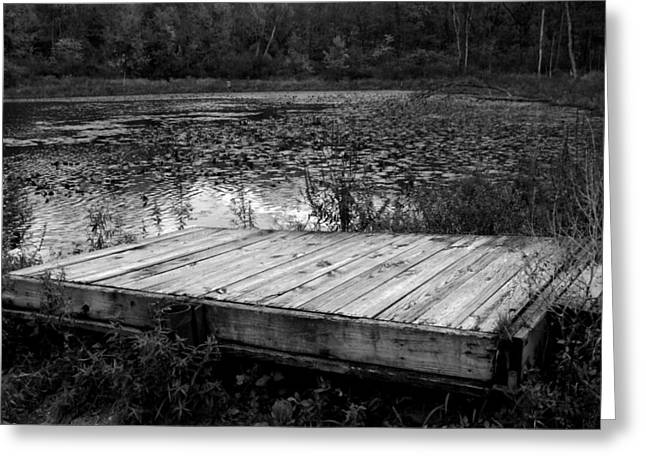Old Dock At Dusk Greeting Card by Michael L Kimble