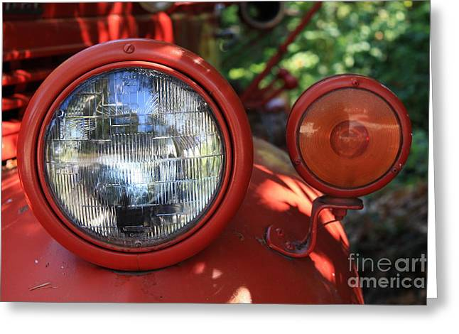 Old Dodge Fire Truck Headlight In Colour Greeting Card