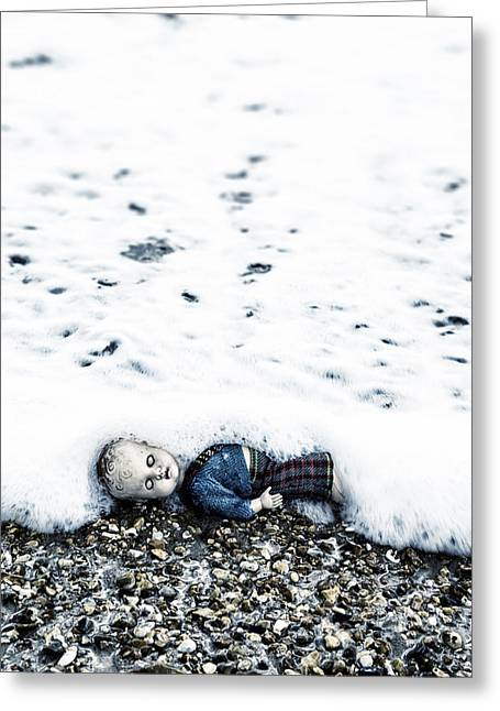 Old Doll On The Beach Greeting Card