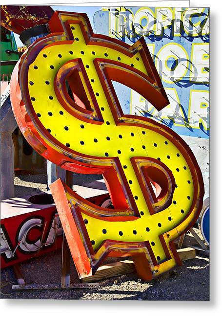 Old Dollar Sign Greeting Card