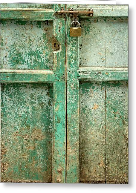 Vintage Wall Greeting Cards - Old Door Greeting Card by Adam Romanowicz