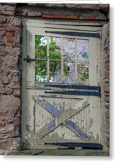 Greeting Card featuring the photograph Old Door From Bridgetown Millhouse Bucks County Pa by Bill Cannon