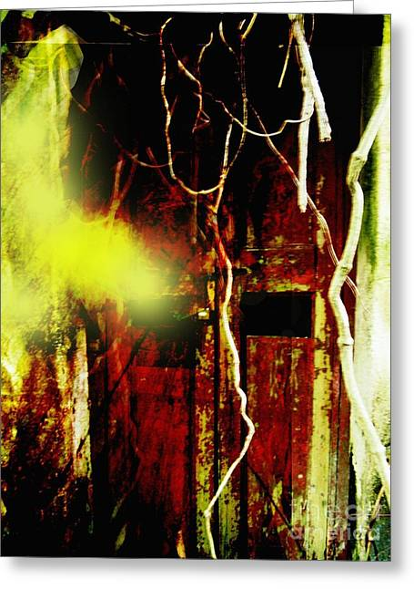 Old Door Ghost Halloween Scary Card Print Greeting Card by Kathy Daxon