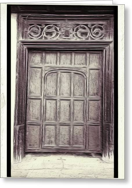 Old Door Painting Greeting Card by Tom Gowanlock