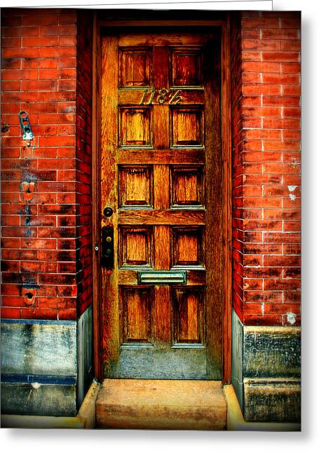 Knob Greeting Cards - Old Door Greeting Card by Perry Webster