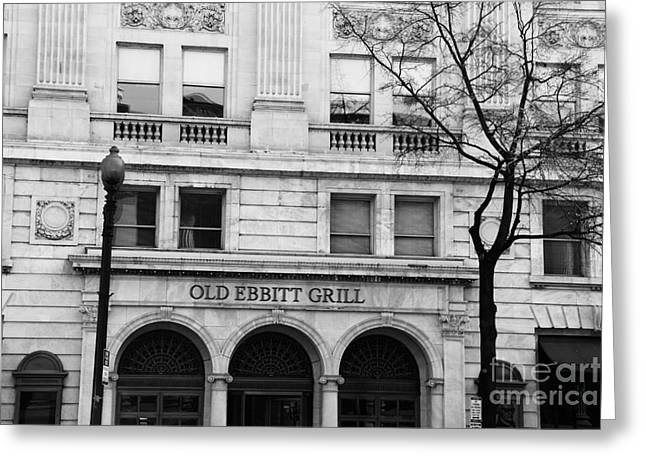 Old Ebbitt Grill Facade Black And White Greeting Card