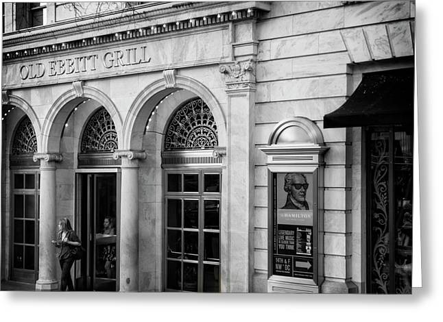Old Ebbitt Grill In Black And White Greeting Card by Chrystal Mimbs