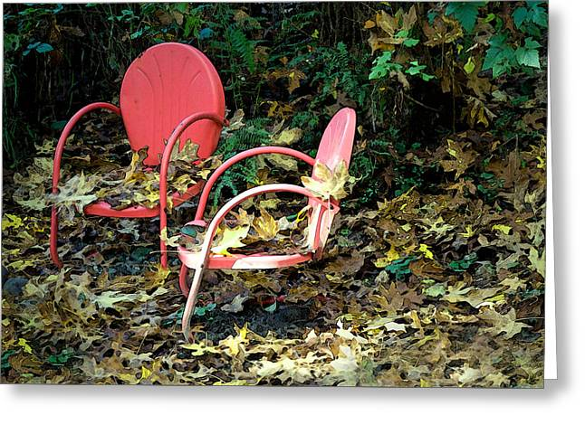 Old Empty Chairs Greeting Card by Gwyn Newcombe