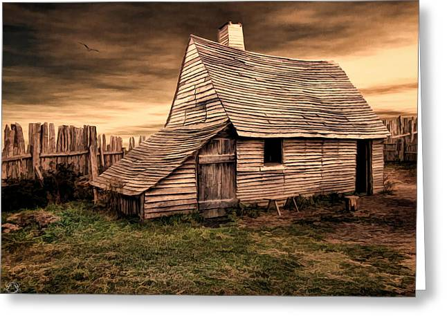 Old English Barn Greeting Card by Lourry Legarde