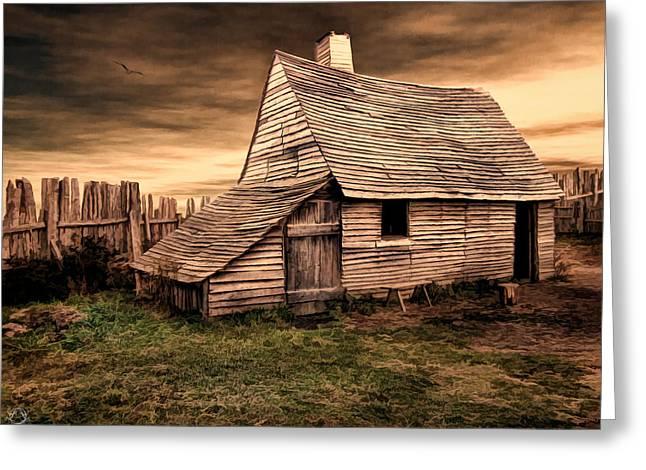 Old English Barn Greeting Card by Lourry Legarde
