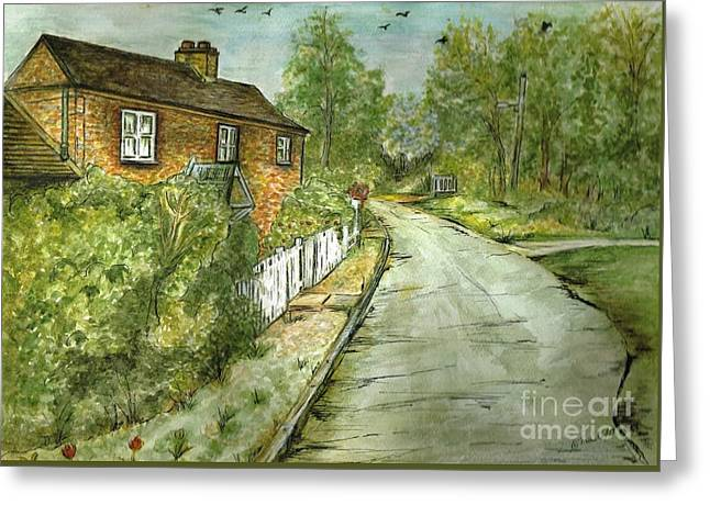 Greeting Card featuring the painting Old English Cottage by Teresa White