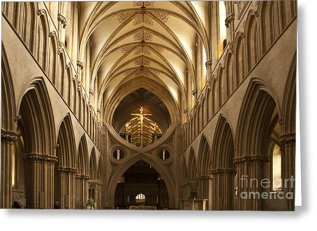 Old English Style Cathedral Greeting Card by Heiko Koehrer-Wagner
