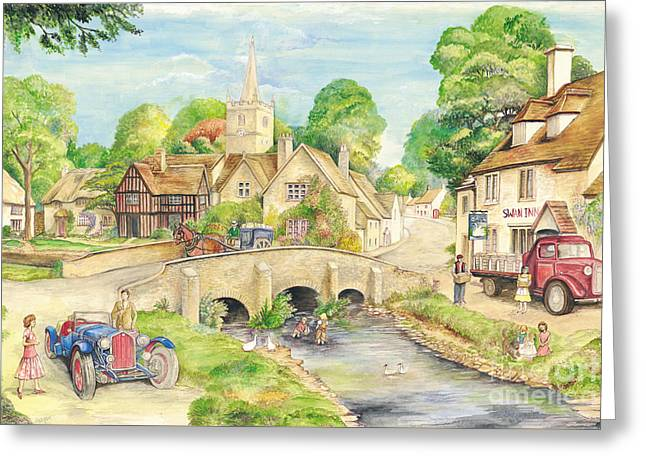 Old English Village Greeting Card by Morgan Fitzsimons