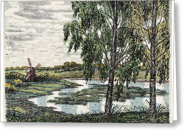 Old Europe In Stone Lithography. Tall Wooden Windmill On River Bank Meadow On A Sunny Summer Day Greeting Card