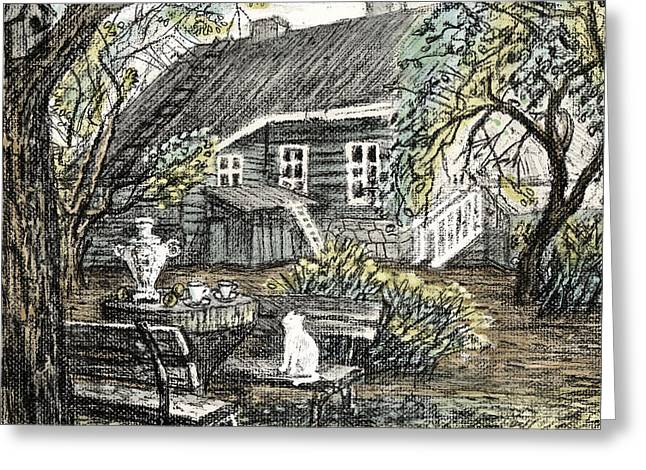 Old Europe In Stone Lithography. Young Green Leaves On Garden Trees, Samovar, White Cat On Bench Greeting Card