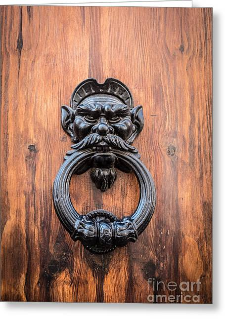 Old Face Door Knocker Greeting Card
