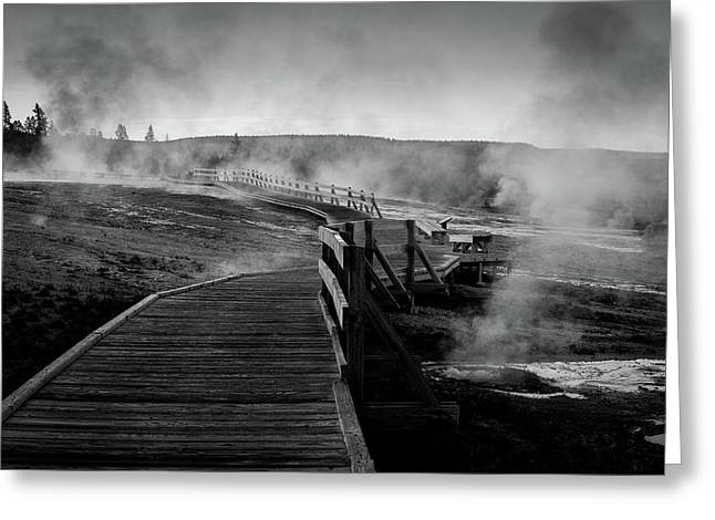 Old Faithful Boardwalk Greeting Card