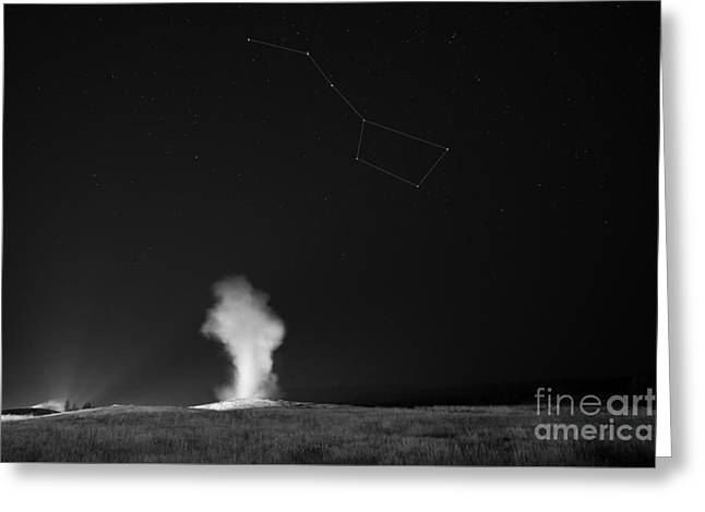 Old Faithful Night Eruption Under The Big Dipper Bw Greeting Card