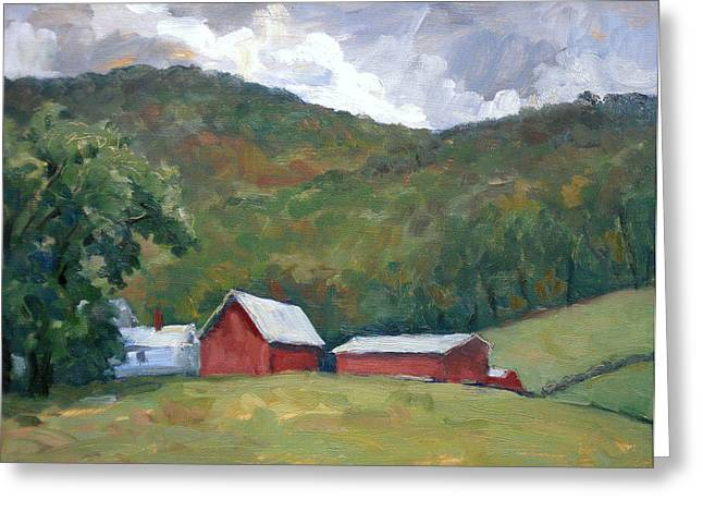 Shed Paintings Greeting Cards - Old Farm Berkshires Greeting Card by Thor Wickstrom