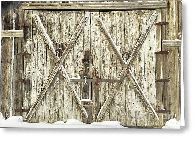 Old Farm Doors Greeting Card by Anthony Djordjevic