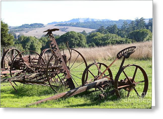 Old Farm Equipment . 7d9744 Greeting Card by Wingsdomain Art and Photography