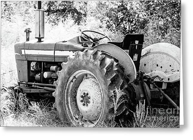 Old Farm Ford Tractor - Bw Greeting Card