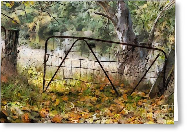 Greeting Card featuring the digital art Old Farm Gate by Fran Woods