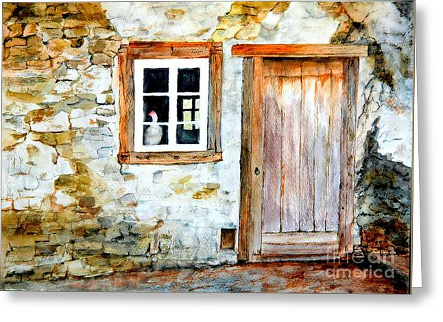 Greeting Card featuring the painting Old Farm House by Sher Nasser