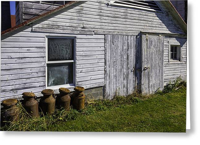 Old Farm Milk Cans Greeting Card by Garry Gay